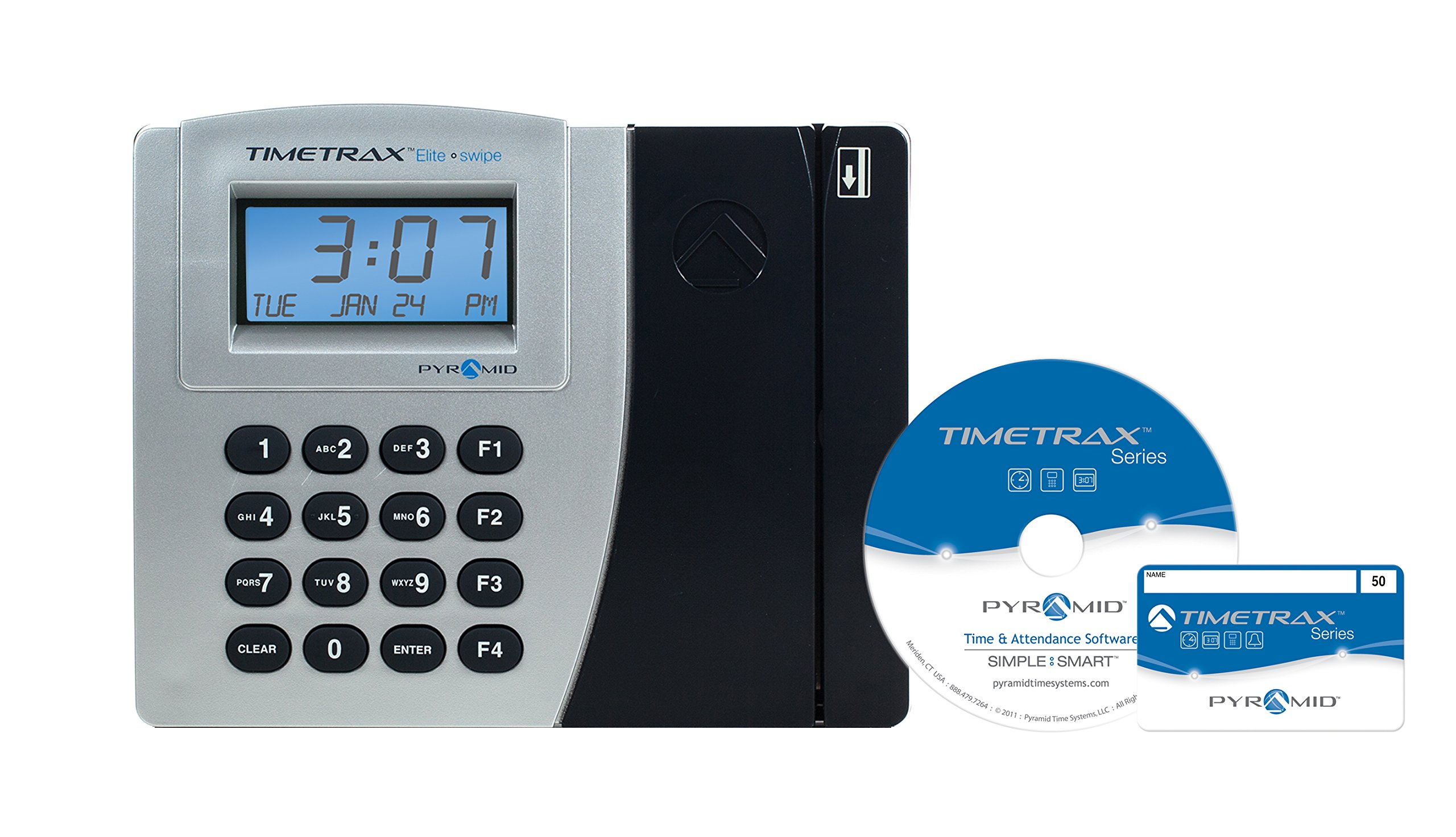 Pyramid TimeTrax Elite PSDLAUBKK Automated Swipe Card Time Clock System with Software - Made in USA