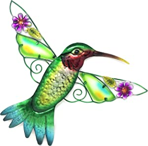 Bejeweled Display Hummingbird w/Glass Wall Art Plaque & Home Decor