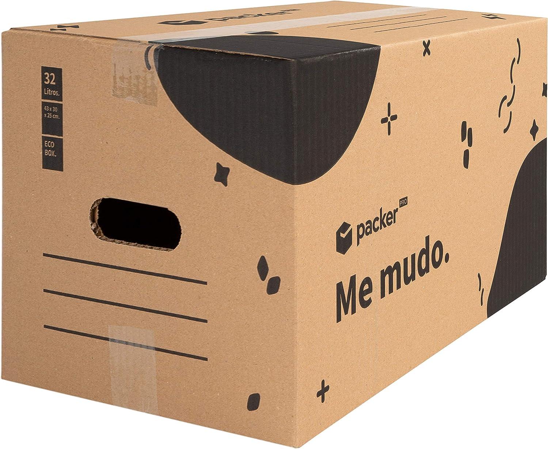 Pack 10 Cajas Carton para Mudanzas y Almacenaje 430x300x250mm Ultra Resistentes con Asas, 100% ECO Box - Packer PRO
