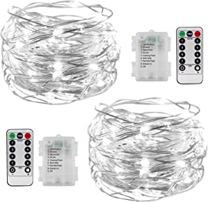 iceagle 2 Pack Fairy Lights Battery Operated, 33FT 100 LED Cooper Wire Battery Operated Lights with Remote Control 8 Modes, Waterproof Firely Lights for Indoor and Outdoor Decorations, White