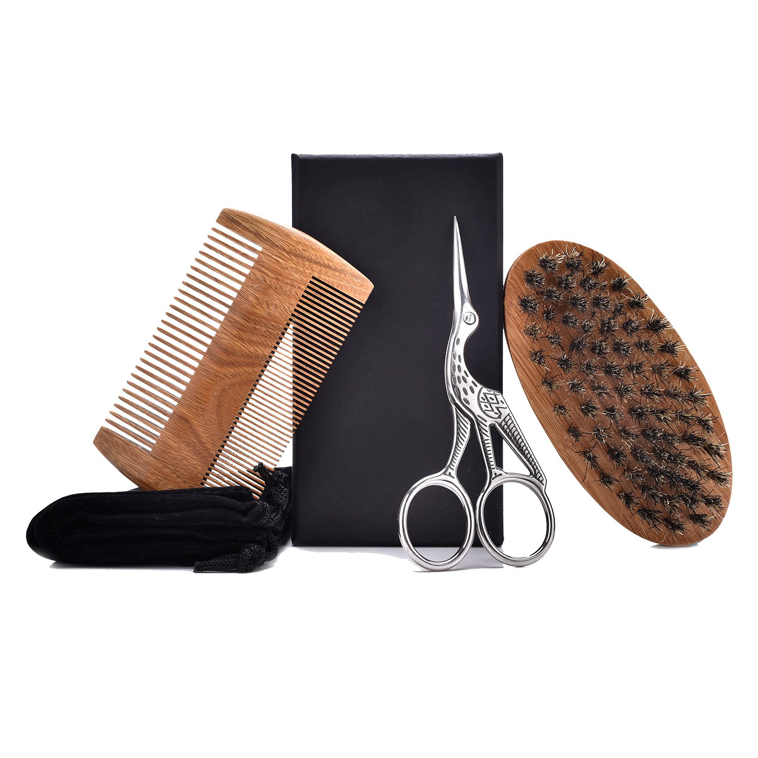 Beard Grooming Kit for Men, Sandalwood Beard Comb, Boar Bristle Beard Brush and Hair Scissors, with Convenient Small Travel Gift Bag,Valentines' Gifts (Brown) Valentines' Gifts (Brown)