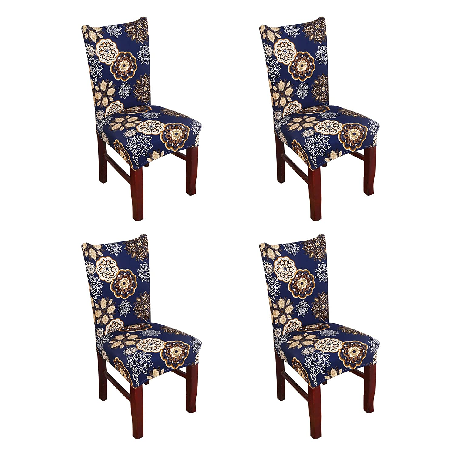 Argstar 4 Pack Chair Covers, Stretch Armless Chair Slipcover for Dining Room Seat Cushion, Spandex Kitchen Parson Chair Protector Cover, Removable & Washable, Navy Blue Flower Design