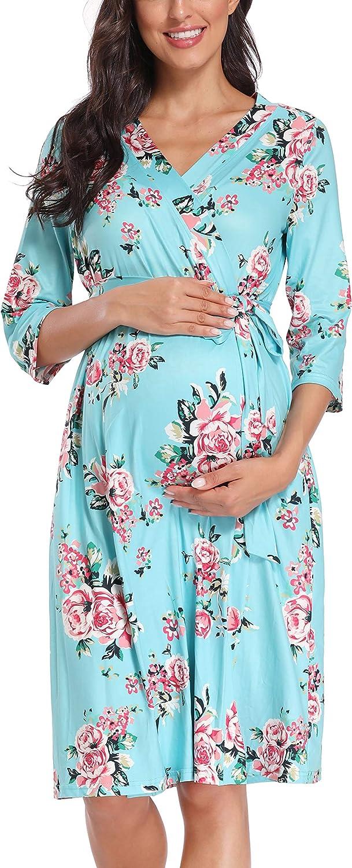 floral maternity set birthing robe breastfeeding robe Mommy and me feeding nightwear nursing robe Pregnancy robe hospital stay robe
