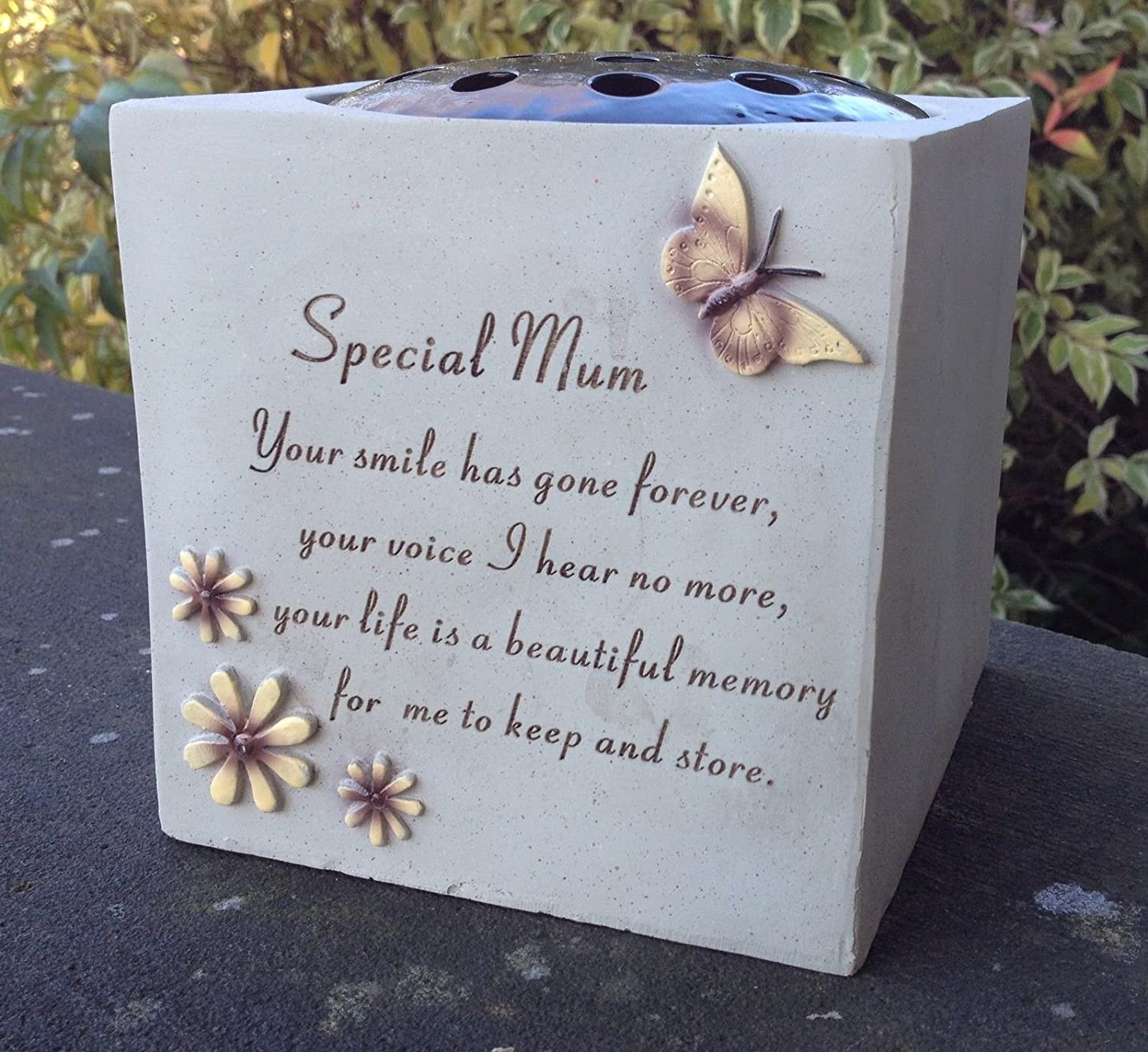 Special mum grave vase rose bowl with butterfly and flowers special mum grave vase rose bowl with butterfly and flowers memorial garden graveside amazon kitchen home izmirmasajfo Gallery