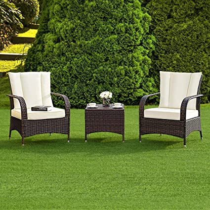 Amazon Com Tangkula 3 Piece Patio Furniture Set Wicker Rattan