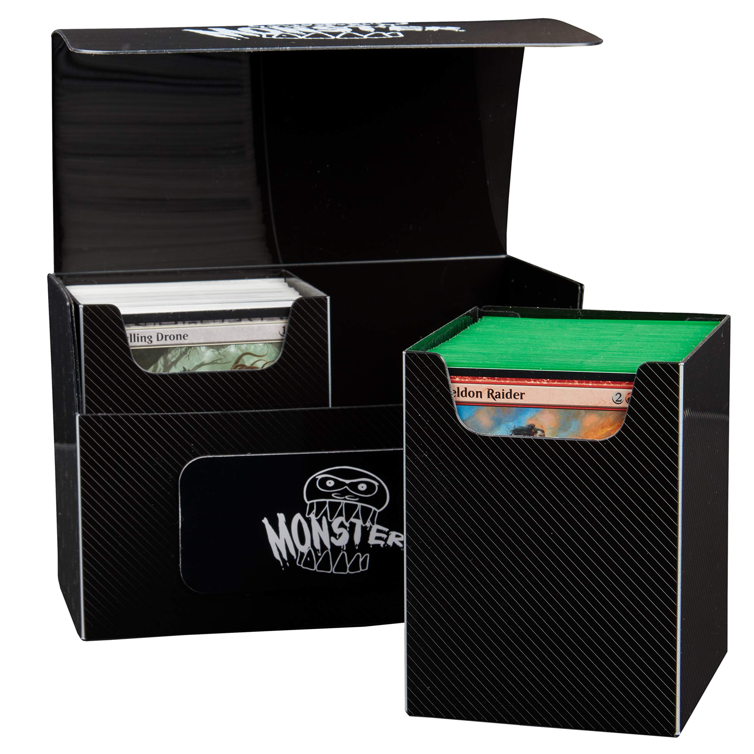 Extra Large Magnetic Deck Box - MTG Commander Big Case - Two XL Removable Compartments Hold 200 Double Sleeved Magic Game Cards by Monster