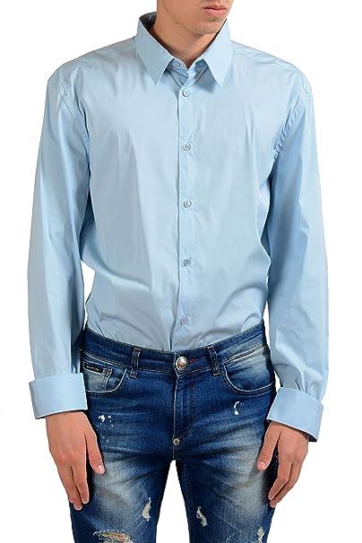 Amazon.com: Versace Men s azul camisa de vestido de manga ...