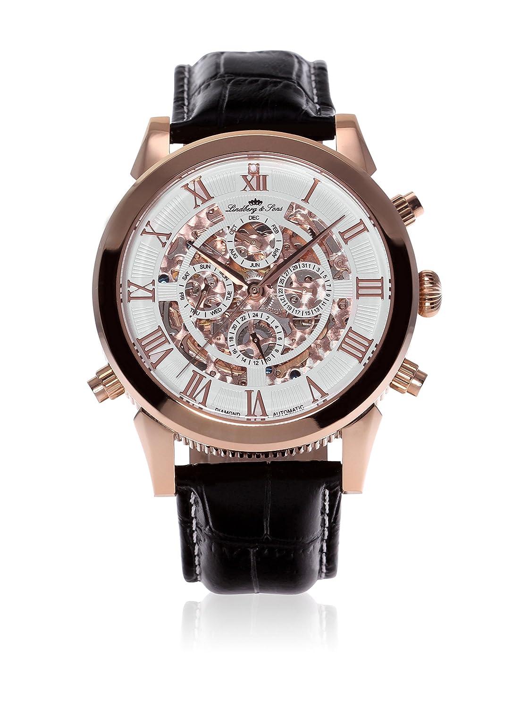 Lindberg & Sons Herren-Armbanduhr mit einem echten Diamanten - 24h Anzeige -  Automatik Analog Skelettuhr Lederarmband Schwarz -