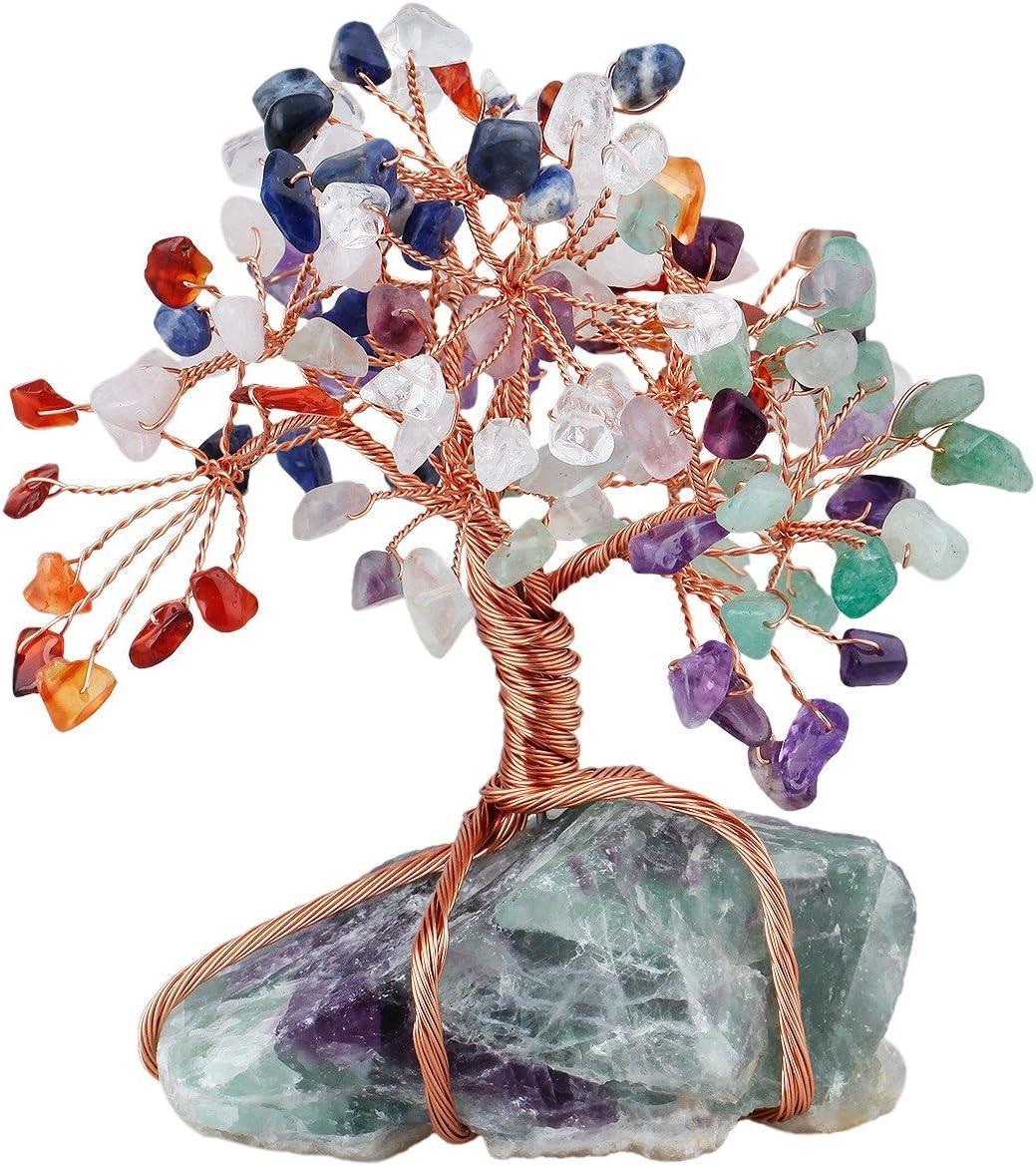 mookaitedecor Árbol de la vida con piedra de cristal curativa y base de clúster, decoración de la riqueza de buena suerte, Chakras Stones & Fluorite