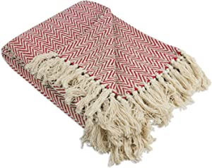 """DII Rustic Farmhouse Throw Blanket with Decorative Tassles, Use For Chair, Couch, Bed, Picnic, Camping, Beach, & Just Staying Cozy At Home (50 x 60""""), Mini Chevron Tango Red"""