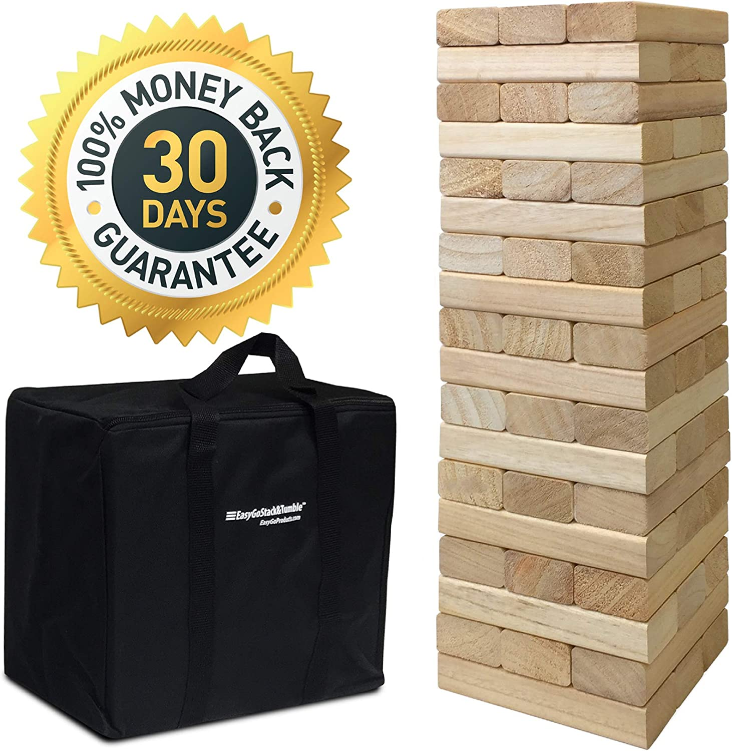 EasyGoProducts 54 Piece Large Wood Block Stack & Tumble Tower Toppling Blocks Game– Great for Game Nights for Kids, Adults & Family–Storage Bag