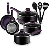 Kitchen Cookware Set, 11 Piece Pots and Pans Set for Cooking Nonstick, Dishwasher Safe Cooking Utensils Set by Chef's Star (P