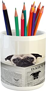 Ambesonne Pug Pencil Pen Holder, Puppy Reading The Newspaper on The Toilet Bathroom Funny Image Pug Joke Print, Printed Ceramic Pencil Pen Holder for Desk Office Accessory, Cream Black White