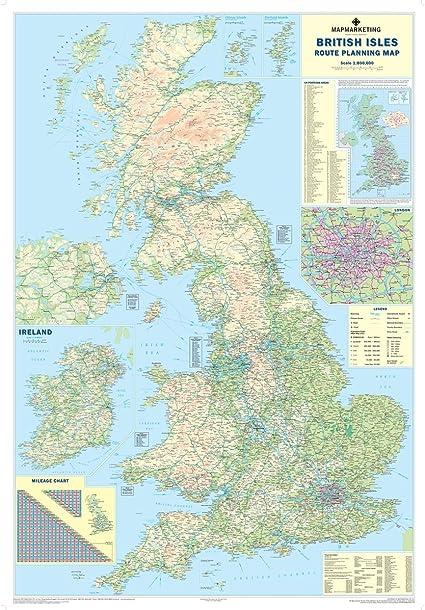 Las Islas Británicas de motor mapa – mapa de pared grande para negocios, color Laminated: Amazon.es: Oficina y papelería