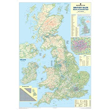 British Isles Road Map Large Wall Map Of UK Ireland Amazonco - Large wall map of uk