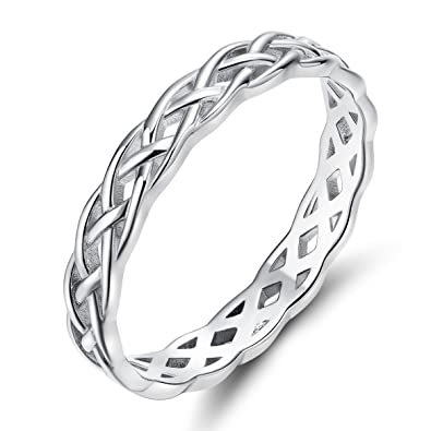 Celtic Knot Wedding Bands.Somen Tungsten 925 Sterling Silver Ring 4mm Eternity Celtic Knot Wedding Band For Women Size 3 13