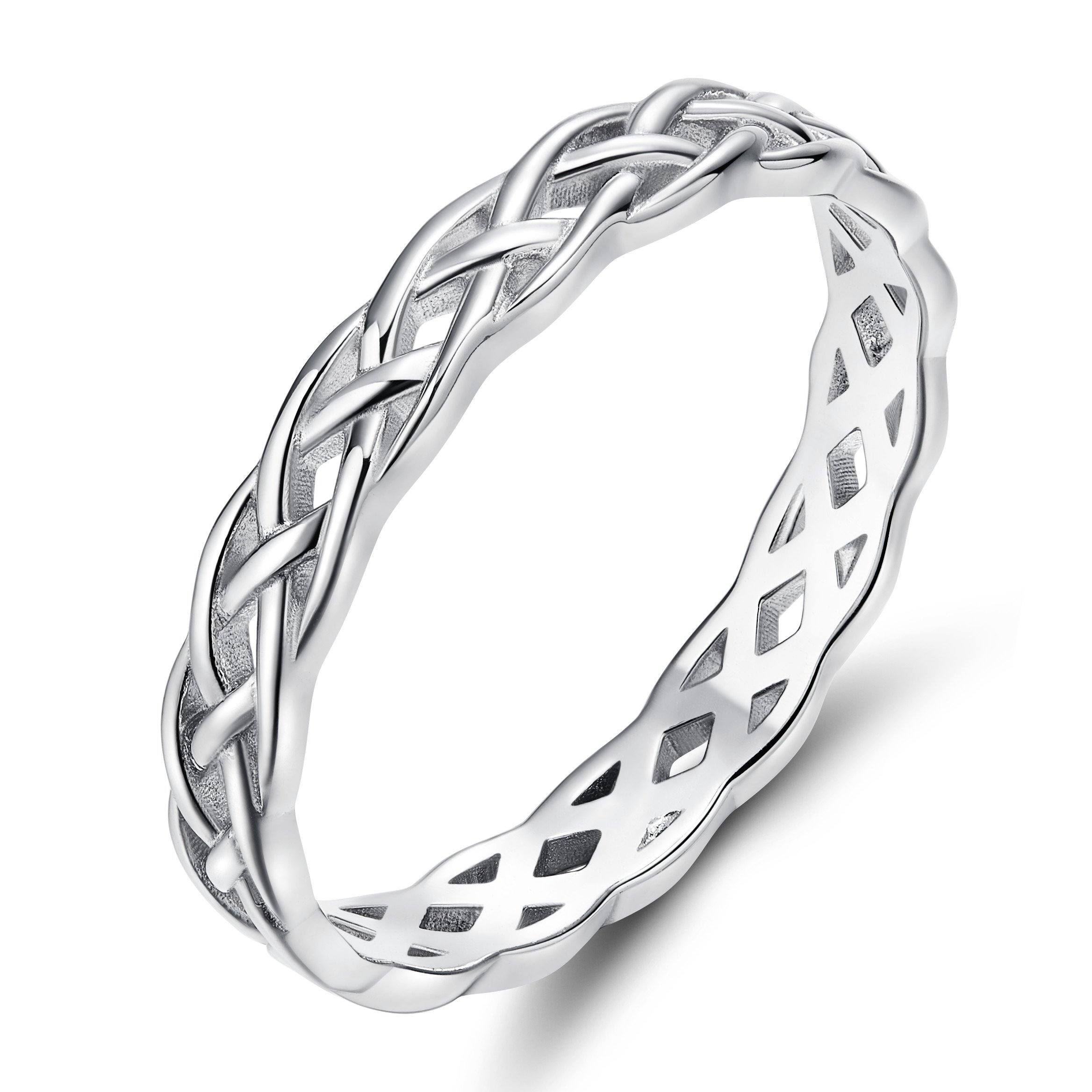SOMEN TUNGSTEN 925 Sterling Silver Ring 4mm Eternity Knot Wedding Band for Women Size 4.5