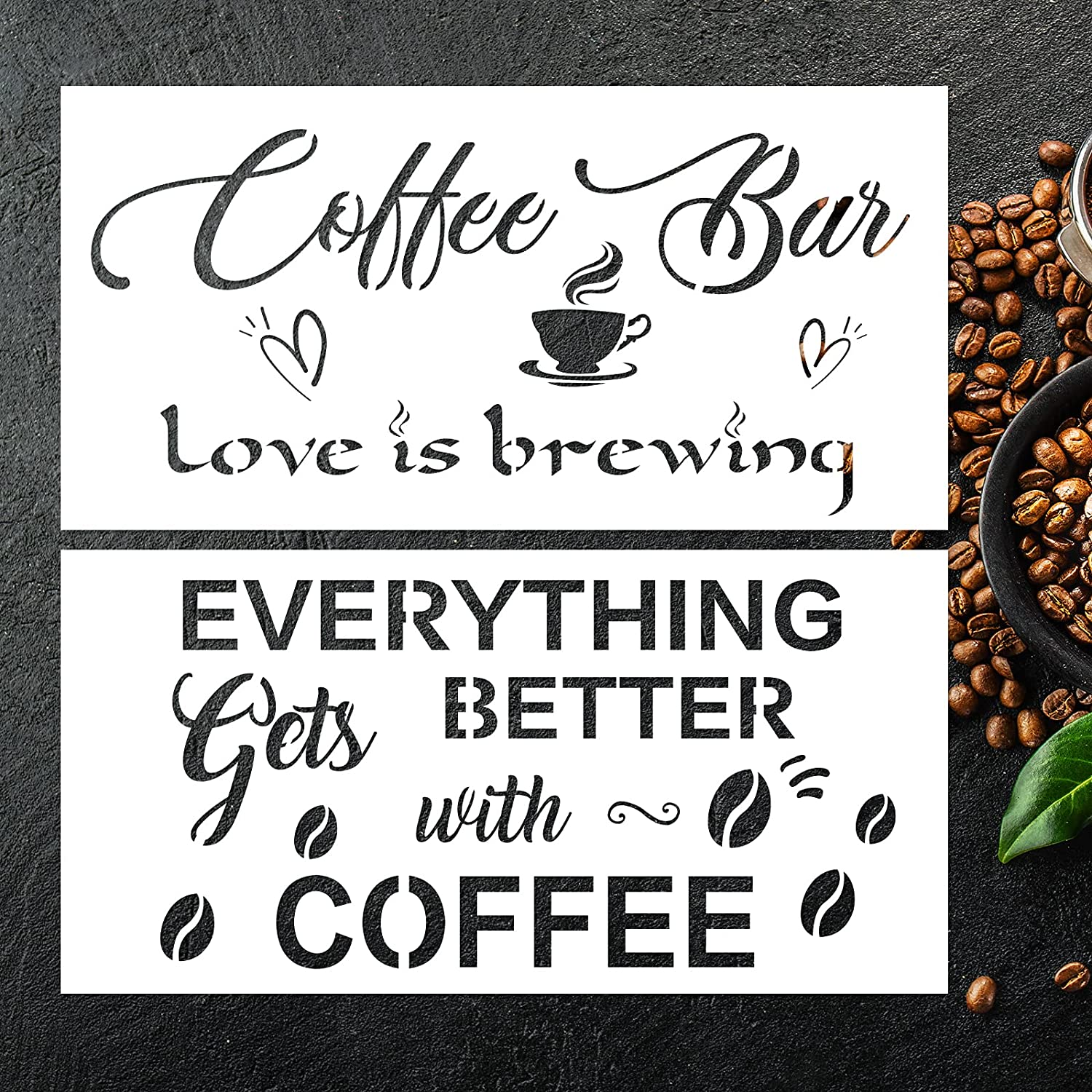 """Coffee Sign Stencils Kit for Coffee Bar- Rustic Farmhouse Inspirational Template 12""""X6"""" Reusable Drawing Stencil DIY Wall Furniture Canvas Paper Fabric Floor Tiles Decoration Set of 2"""