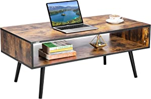VIVOHOME 43 Inch Wooden Retro Mid-Century Modern Coffee Table with Open Storage Shelf Vintage Accent Boho Cocktail TV Office Rectangular for Home Living Room Indoor, Rustic Brown