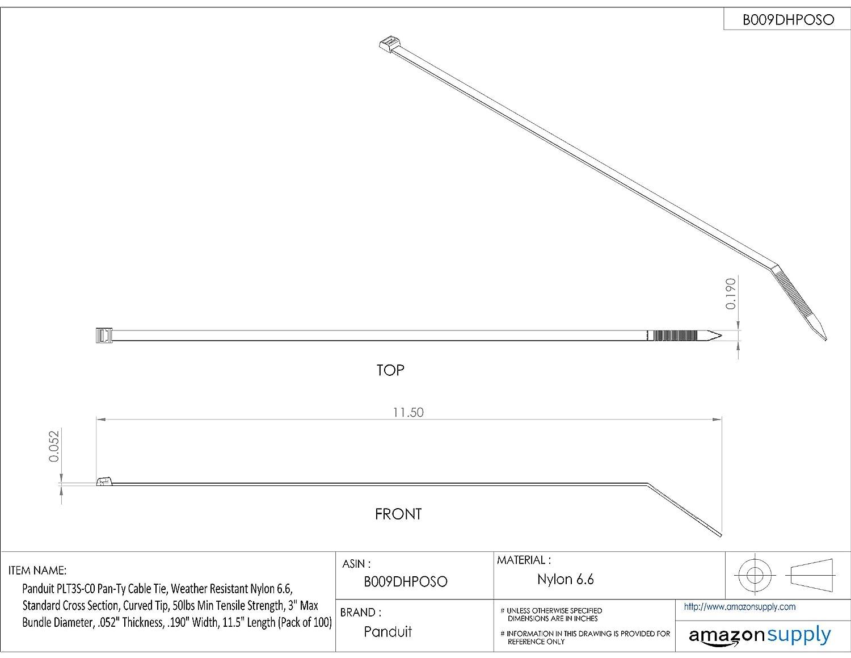 1,000-Pack Black 14.5-Inch Length Panduit PLT4S-M0 Cable Tie Weather Resistant Nylon 6.6 Standard