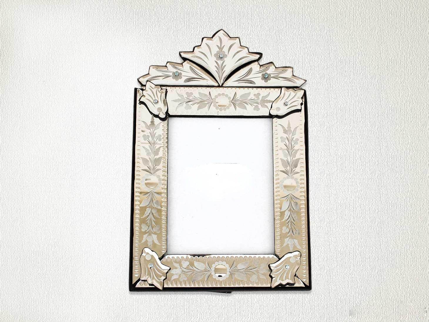 Indianshelf Handmade Decorative Clear Wood Glass and Iron Vintage Venetian Photo Frame Home Decor Gift Item