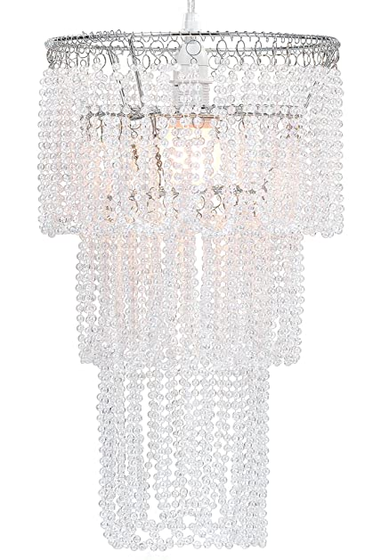 WanEway 3 Tier Ceiling Chandelier Pendant Light Shade with Beautiful Pearl Effect Beads. An Elegant  sc 1 st  Amazon.com & WanEway 3 Tier Ceiling Chandelier Pendant Light Shade with Beautiful ...