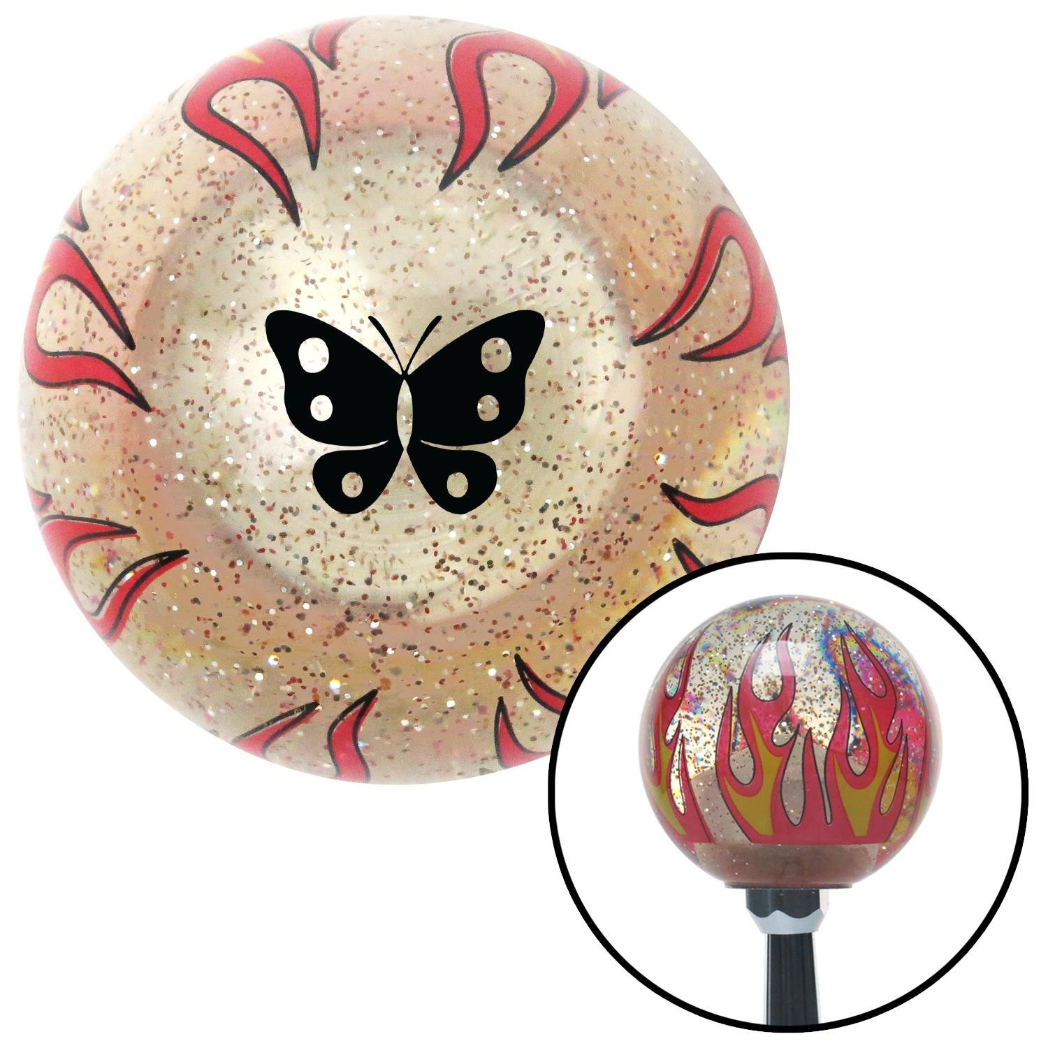 American Shifter 295145 Shift Knob Black Classic Butterfly Clear Flame Metal Flake with M16 x 1.5 Insert