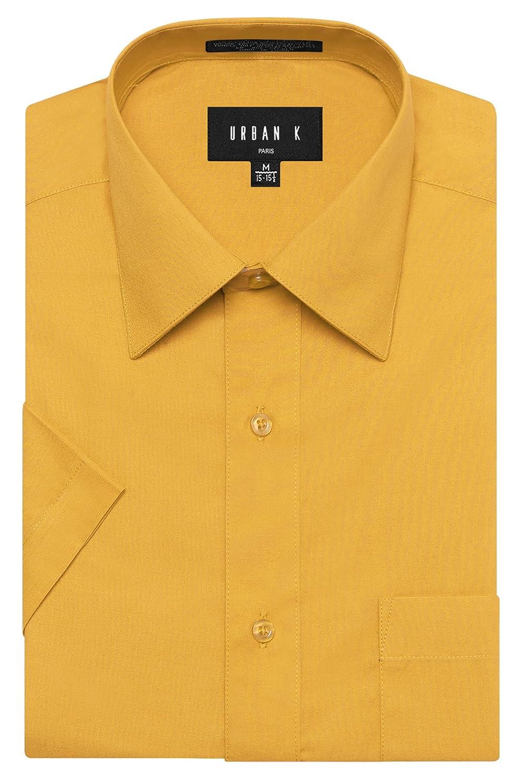 URBAN K メンズMクラシック フィット ソリッドフォーマル襟 半袖ドレスシャツ レギュラー & 大きいサイズ B06VXCLL7L 3L|Ubk_yellow Ubk_yellow 3L