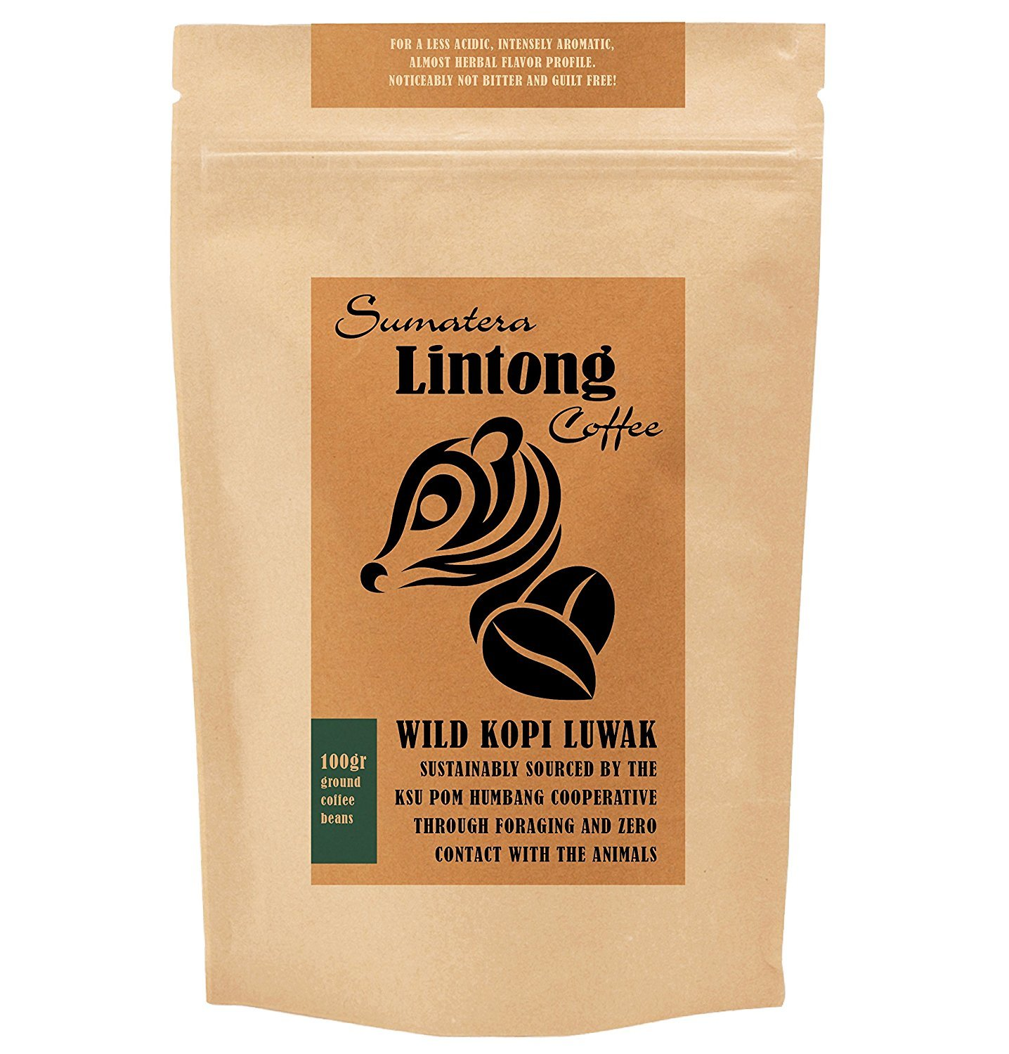 Ground Wild Kopi Luwak, the World's Most Exclusive Coffee, Sustainably Sourced From Sumatra, Indonesia (Ground Coffee, 100gr)
