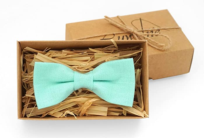 Mint Green Pretied Bow Ties For Men And Kids Made From Eco Friendly Linen Unique Best Mens Gift Groomsmen Perfect Birthday Ideas