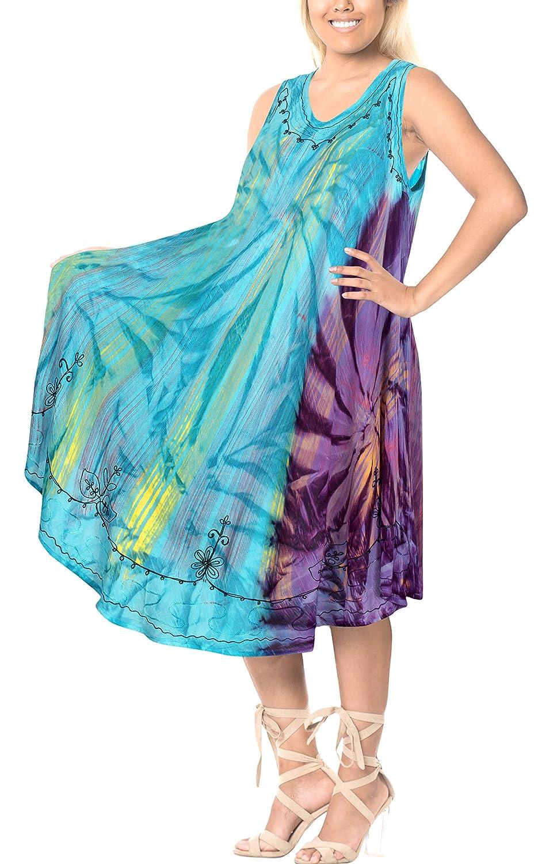 LA LEELA Vestido Tie Dye ray/ón de Las Mujeres Short Playa Encubrir