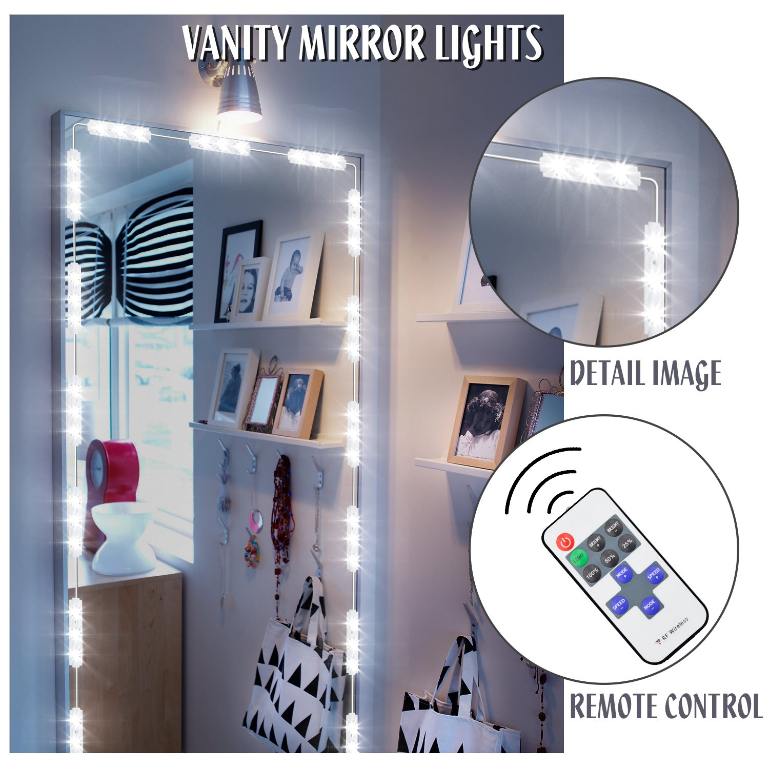 Vanity light, Makeup Mirror Light TaoTens Bathroom Vanity Light Kit, DIY Mirror Light Kit for Cosmetic Hollywood Make Up Mirror with Remote Control 10FT 60LED- 6000K, White(Mirror Not Included)