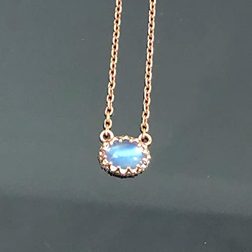 5d78edb5c297d9 14K Rose Gold Moonstone Pendant Necklace - Solid Rose Gold Genuine Rainbow  Moonstone Layering Necklace - 14K Dainty East West Oval Moonstone Crown  Pendant