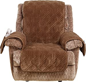 SureFit Wide Whale Recliner, Furniture Cover, Brown