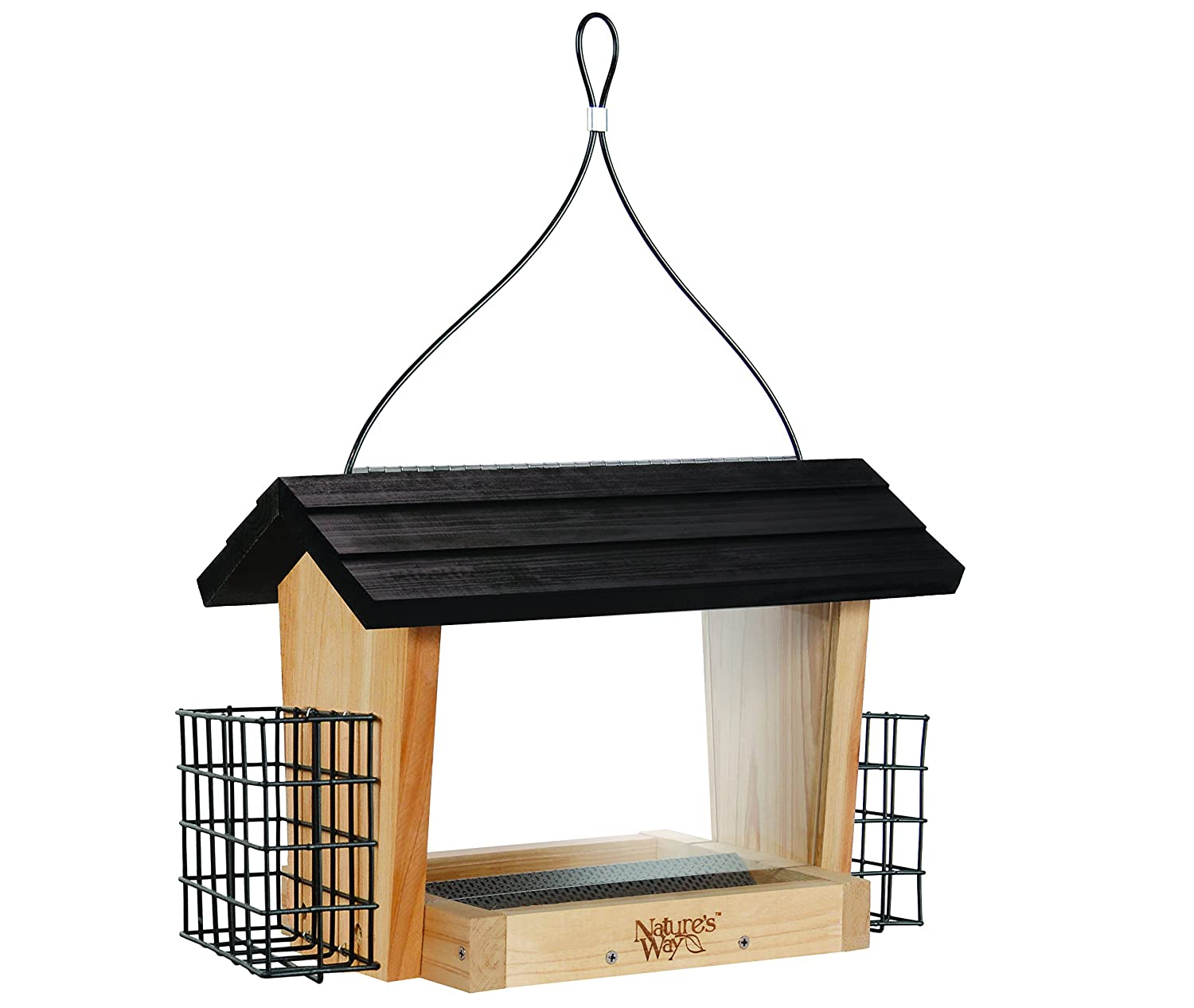 Nature's Way Bird Products CWF19 Cedar Hopper Bird Feeder with Suet Cage, 6-Quart