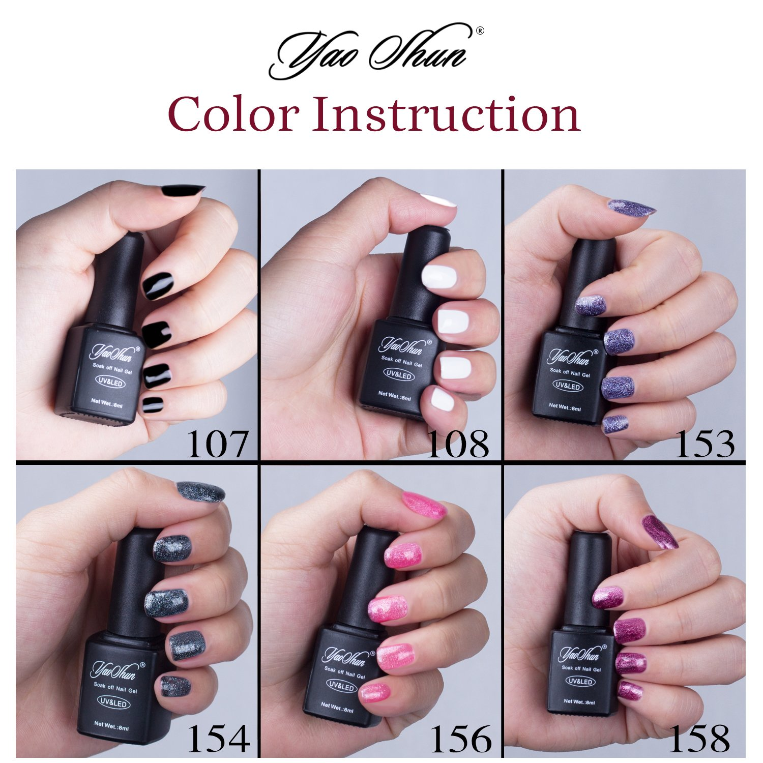YaoShun UV LED Gel Nail Polish Establece 6 Colores + Capa Base y Capa Superior 8ml, # 004: Amazon.es: Belleza