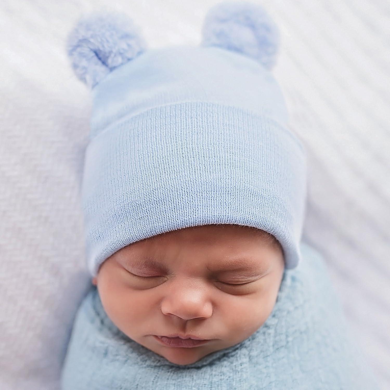 002ba58f8f0 Amazon.com  Melondipity Newborn Boy Fuzzy Bear Ears - Nursery Beanie Blue   Clothing