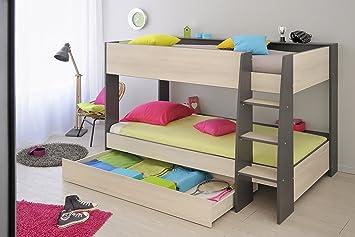 Cabin Bed 90 X 200 Cm Acacia Dark Grey Amazon Co Uk Kitchen Home