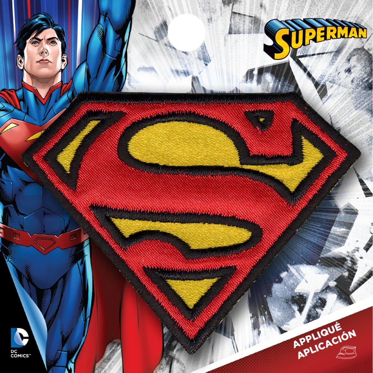Simplicit/é Medium Superman Logo thermocollant Applique Polyester Multicolore 7.98/x 0.2/x 7.67/cm
