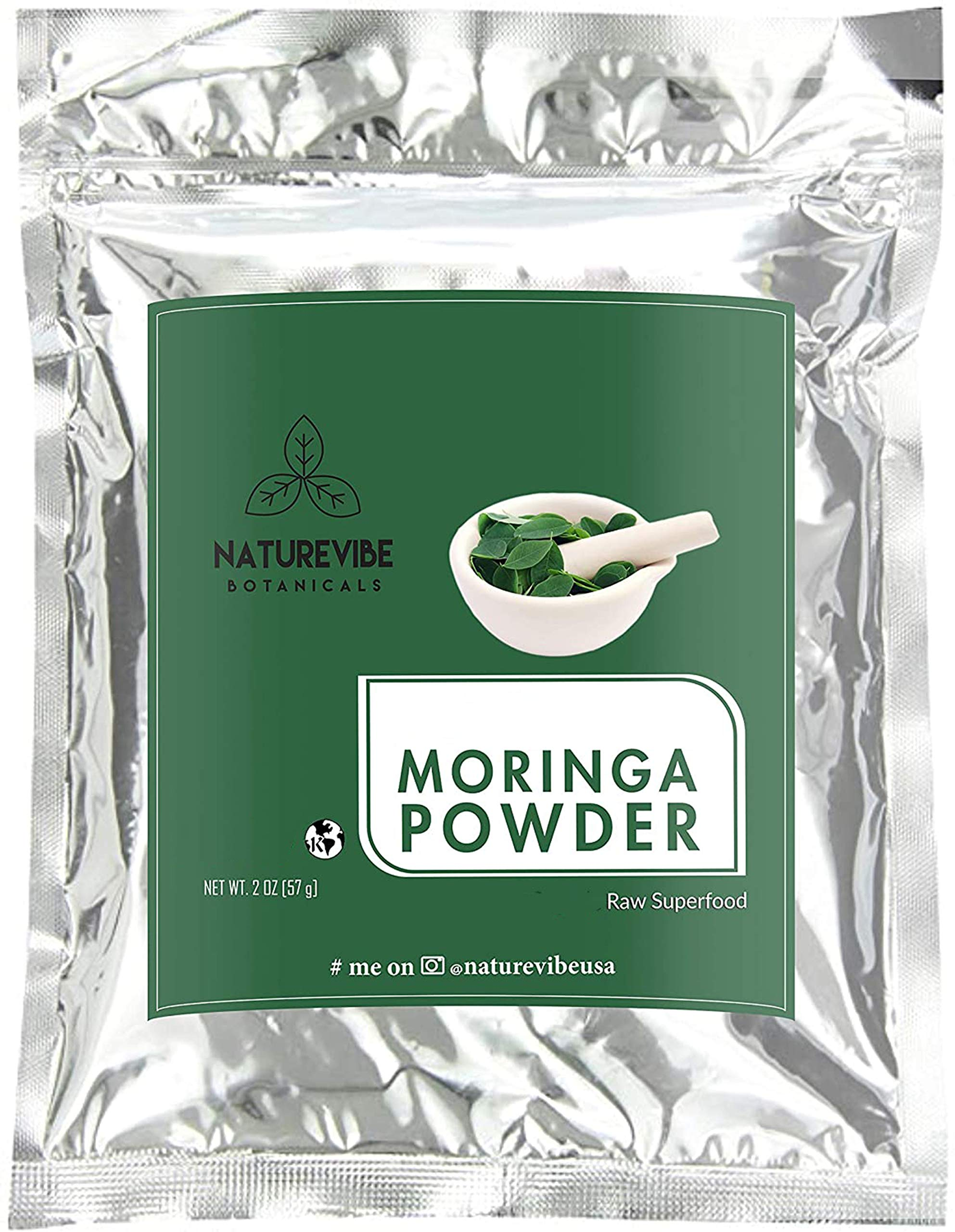 Premium Moringa Powder by Naturevibe Botanicals (2oz), Non GMO and Gluten Free | Rich in Multi-Vitamin | Great in Drinks and Smoothies | Supports Weight Loss.