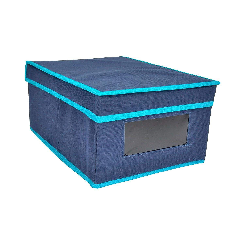 Beige y Azul Bloquer Ralph Caja Ordenaci/ón con Ventana y Tapa 37.5x27.5x3 cm Tela