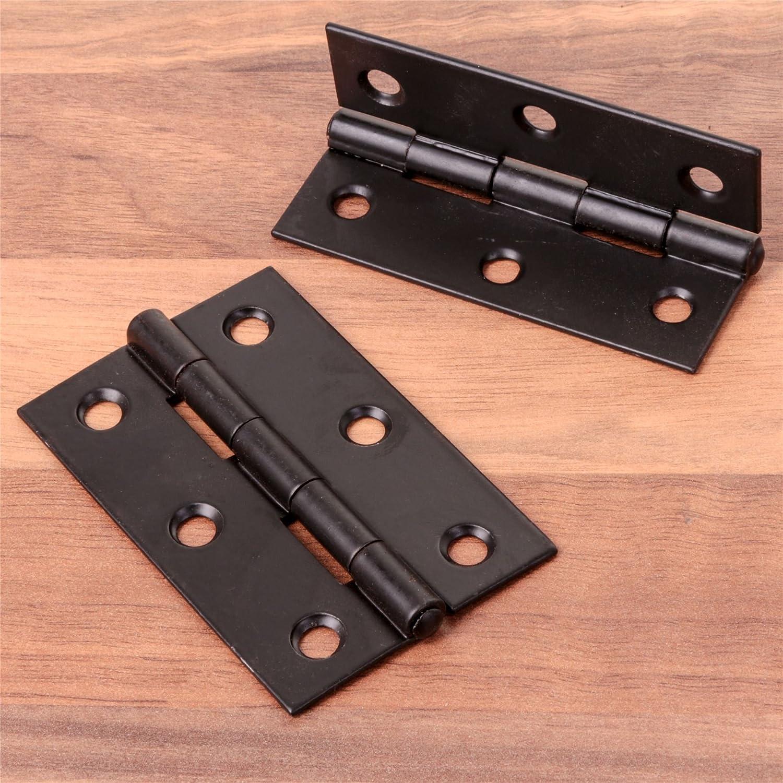 Pair Of Black Steel 1838 Butt Hinges - 75mm/3' - Heavy Duty Door Cupboard/Cabinet Hinges White Hinge