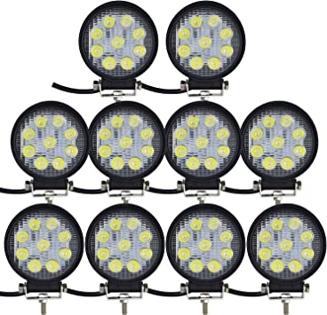 Willpower 10pcs 4 Inch 27w Square Spot LED Work Light Bar for Truck Car ATV SUV 4X4 Jeep Truck Driving Lamp