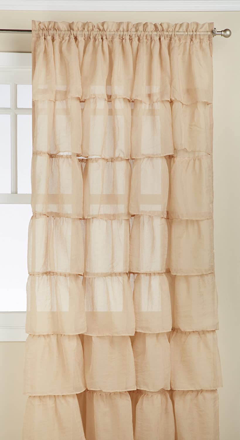 Amazon Lorraine Home Fashions Gypsy Shabby Chic Layered Ruffle Window Curtain Panel 60 By 84 Inch Sand Kitchen