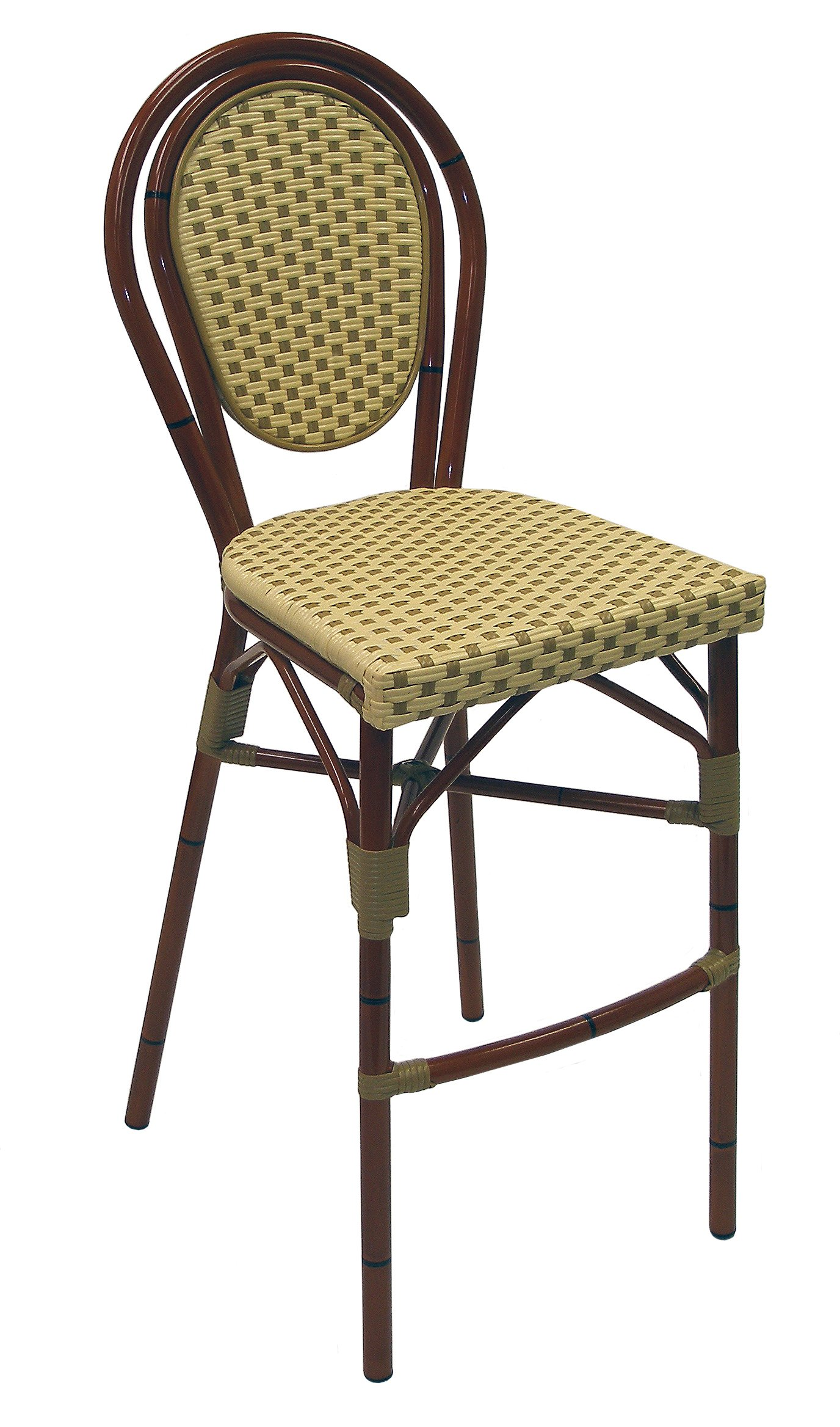 ATC Parisienne Faux Rattan All-Weather Commercial Stackable Barstool with Aluminum Frame, Ivory Honey