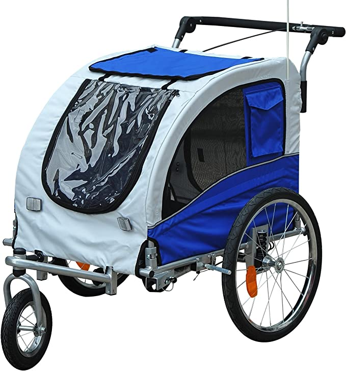 Pawhut Dog Carrier Bicycle Dog Trailer Jogger 2 In 1 Trailer Pet Supplies
