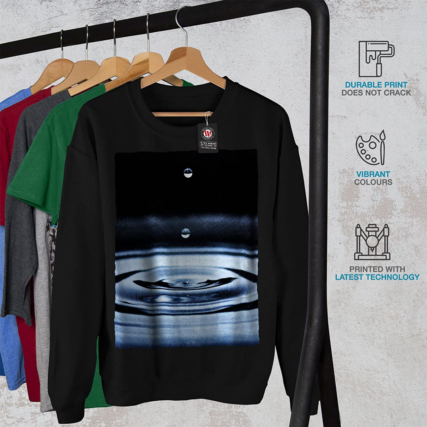 Crystal Casual Jumper wellcoda Water Drop Life Mens Sweatshirt