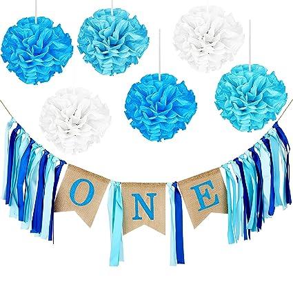 amazon com maxdot 1 set baby first birthday banner 1st birthday boy