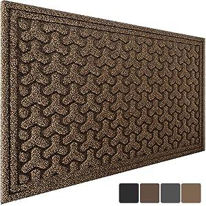 """Large Outdoor Door Mats Rubber Shoes Scraper 36"""" x 24"""" for Front Door Entrance Outside Doormat Patio Rug Dirt Debris Mud Trapper Waterproof Out Door Mat Low Profile Washable Carpet"""