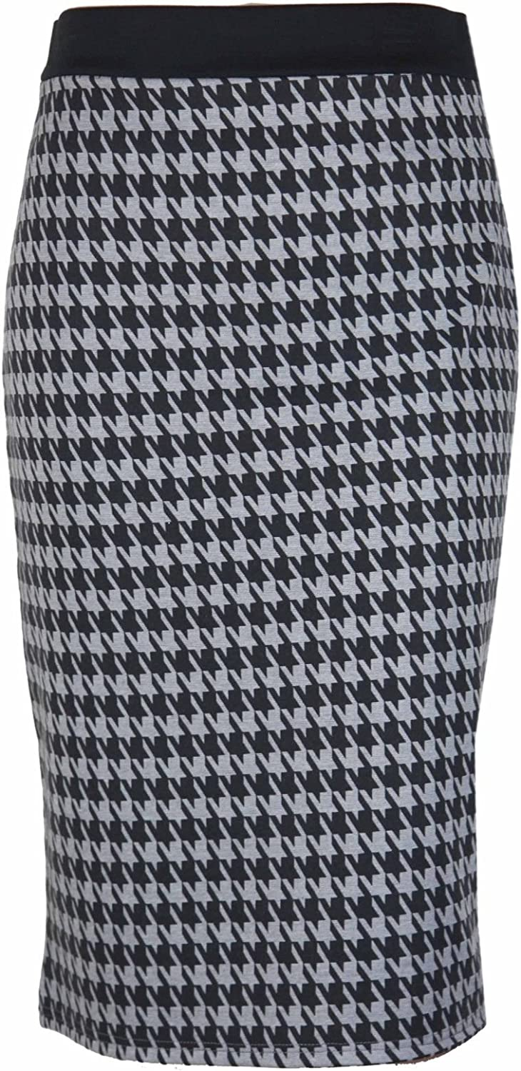 New Ladies Dogtooth Wiggle Tube Skirts Houndstooth Pencil Skirt Black//White